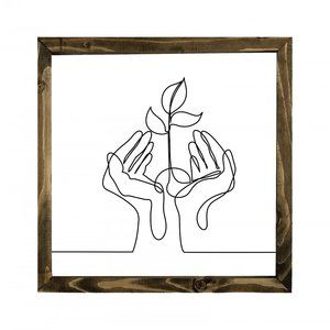 Single Line Hanging Wall Sign Flower and Hands